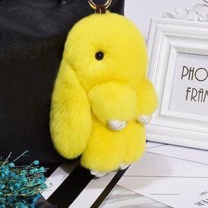 Yellow Fluffy Bunny Keyring
